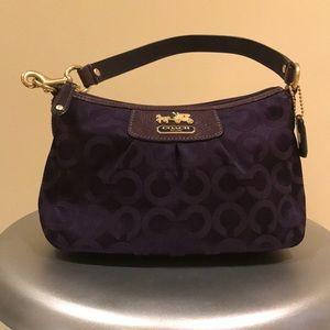 Authentic Purple Madison OP ART Top Handle Pouch
